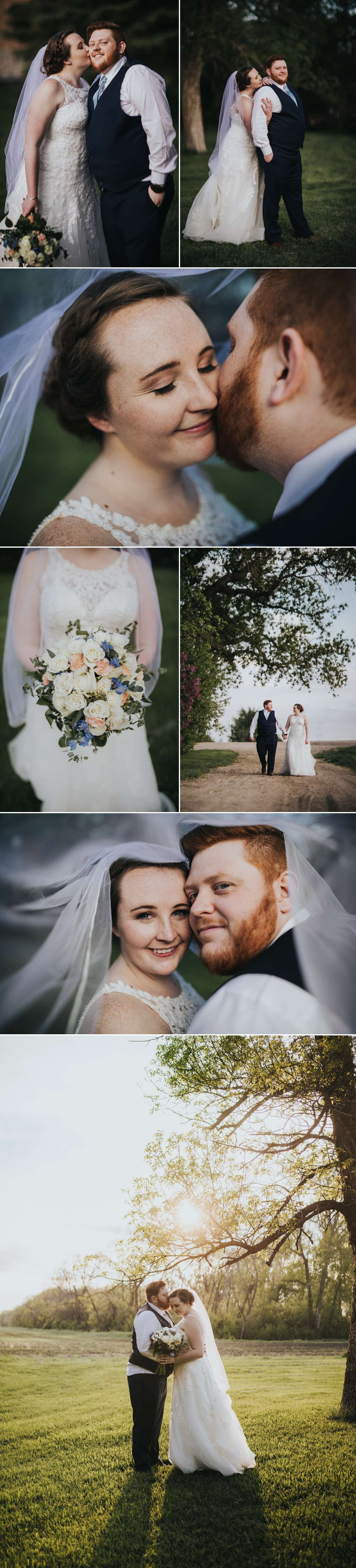 Sunset Bride and Groom couple portraits at Romantic Moon Event Center