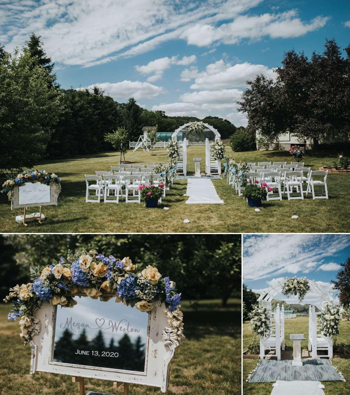 Outdoor wedding ceremony in Minnesota
