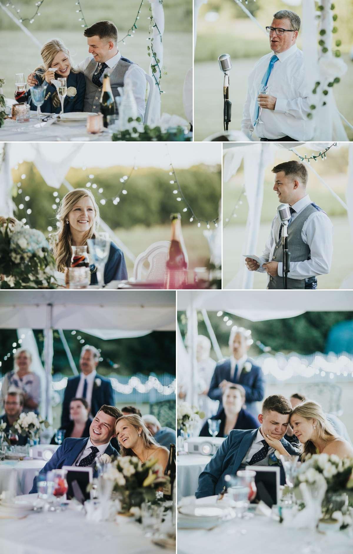 Toasts at backyard wedding