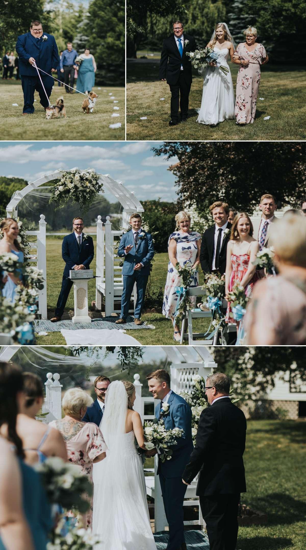 Backyard wedding ceremony in Minnesota