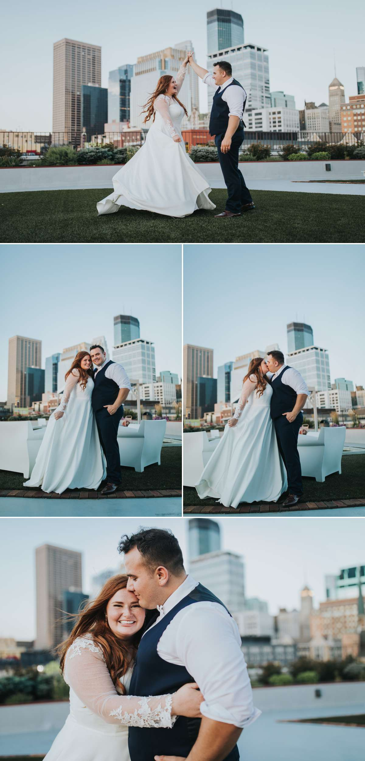 Bride and Groom portraits on roof.